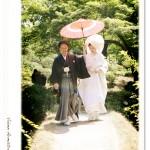 小石川後楽園にて、白無垢姿の新婦様と新郎様