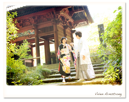 鎌倉で前撮りする新郎新婦
