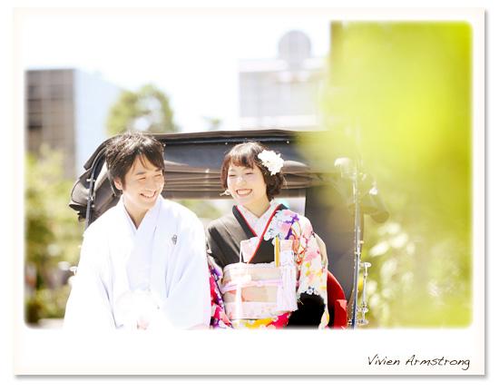 鎌倉で人力車を使って結婚写真