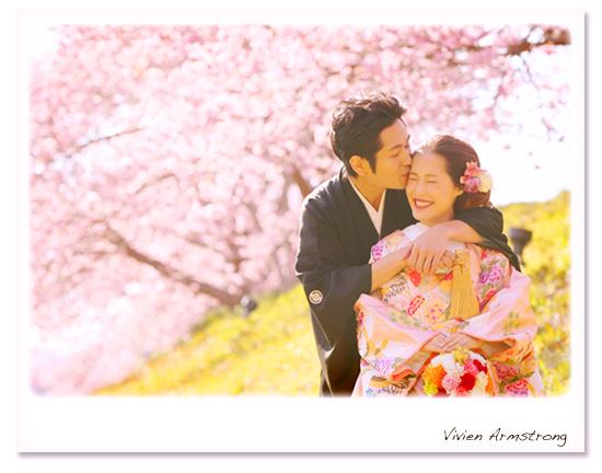 河津桜で結婚写真