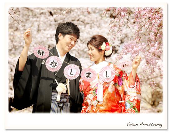 桜ロケーション写真で結婚しましたのご報告にも!