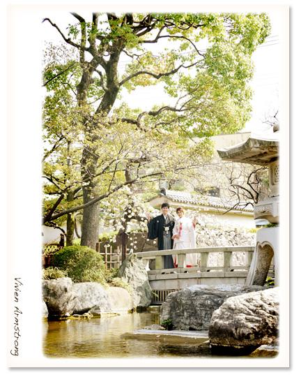 桜ウェディング 桜の季節に日本庭園で和装前撮りウェディング!