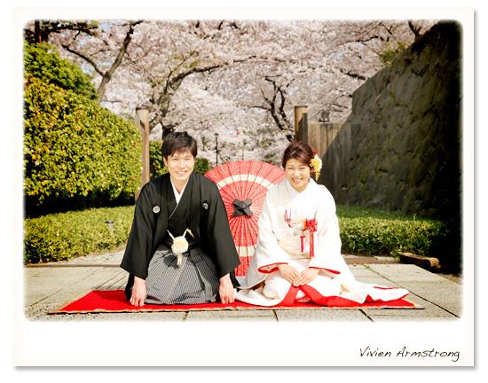 満開の桜でウェディングフォト撮影