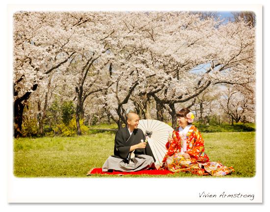 桜とお団子でハッピーな前撮り