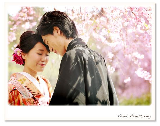 桜と一緒にふたりで和装前撮り