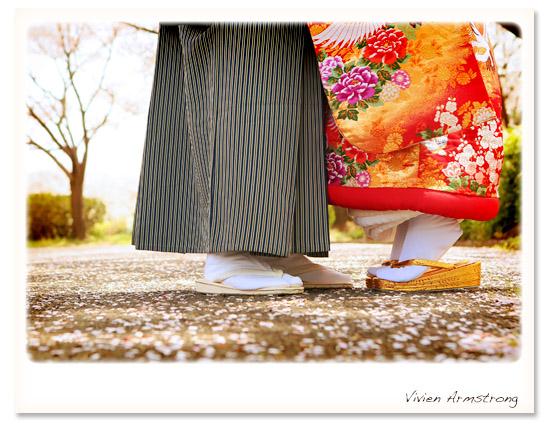 桜に囲まれて素敵に和装で前撮り