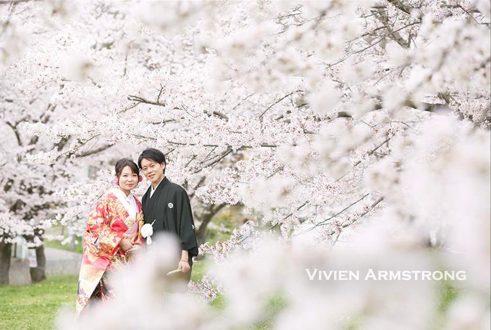 桜に囲まれて前撮り撮影