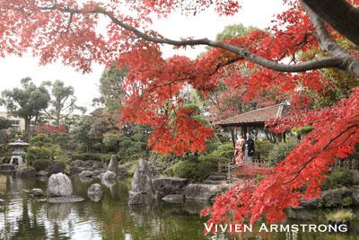 紅葉美しい花畑記念庭園で日本庭園ならではのフォトウェディング