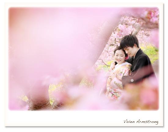 濃いめのピンクが可愛い河津桜に包まれて幸せなフォトウェディング