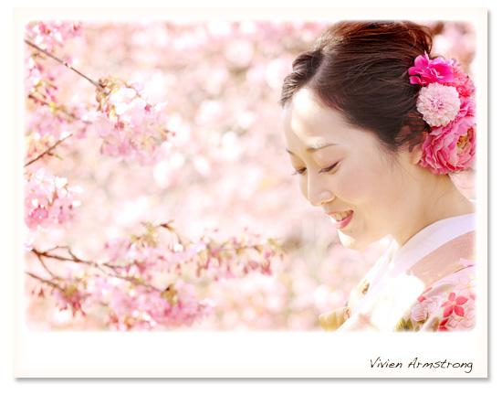 太陽の光にきらめく河津桜とフォトウェディング