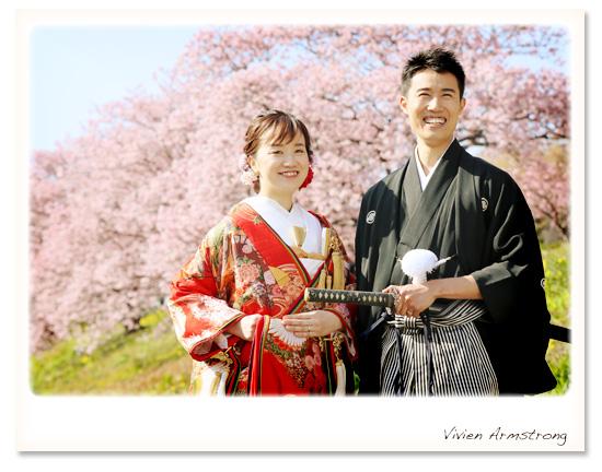 早咲きの河津桜ロケーションで前撮り