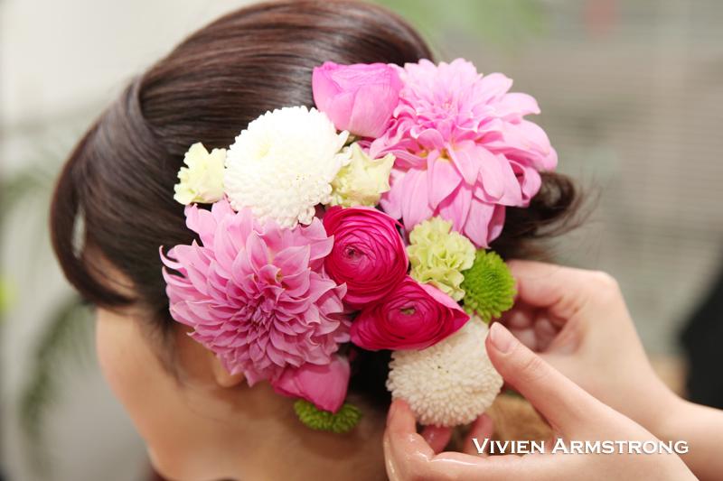 特別な前撮りの日に特別な生花の髪飾り