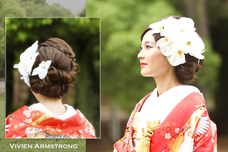 生花の胡蝶蘭で花嫁のヘアスタイルをゴージャスに彩る