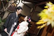 東京の撮影できる日本庭園で、ウェディングフォトを撮る和装の新郎と色打掛を着た新婦