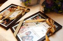 ご家族へプレゼントの写真とメッセージ入りのフォトフレーム
