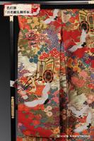 桐、萩、紫陽花、菖蒲、菊など縁起の良い百花が咲き乱れる中に御所車と舞う鶴を描いた艶やかな赤の色打掛