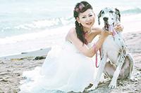 海岸で、愛犬と一緒にウェディングフォトを撮る、ドレス姿の新婦
