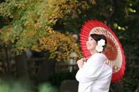 紅葉が美しい日本庭園で和装の婚礼前撮りをする白無垢に赤い番傘を持つ新婦の一人の写真