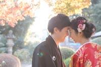 東京の紅葉がきれいな日本庭園で、逆光が差し込むドラマチックな和装前撮りの写真を撮る新郎と赤い色打掛を着た新婦