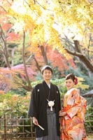 東京の紅葉がきれいな日本庭園で、和装の婚礼前撮り写真を撮る新郎と赤い色打掛を着た新婦