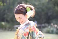横浜鎌倉三渓園 自然光美しい日本庭園で寒色の色打掛を着てフォトウェディング和装前撮り