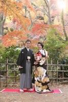 紅葉美しい古河庭園での黒引き振袖を着て和装前撮り