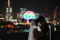 横浜の夜景でドラマティックなナイトロケーションフォトウェディング