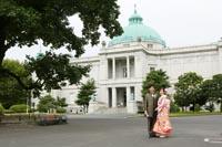 東京国立博物館表慶館ので和洋装のフォトウェディング