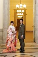 東京国立博物館表慶館でタキシードと色打掛を着ての和洋装フォトウェディング