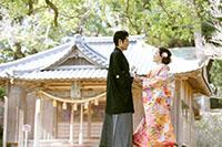 夫婦楠(めおとくす)が有名な神社でのロケーション撮影