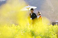 おふたりの楽しい会話が聞こえてきそうな菜の花畑でのロケーション撮影