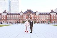 煉瓦造りの東京駅で和洋装のロケーションフォト