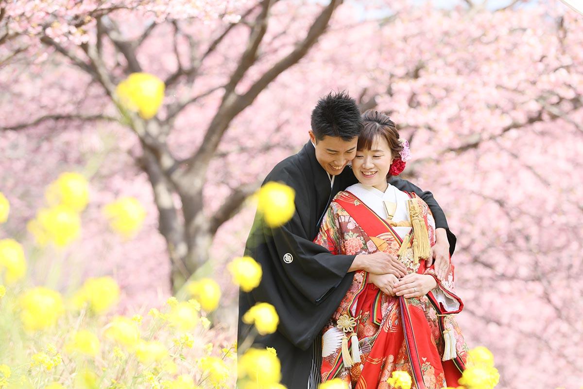 南伊豆で河津桜と菜の花でフォトウェディング
