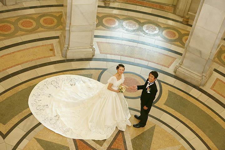 表慶館でドレスで前撮り撮影