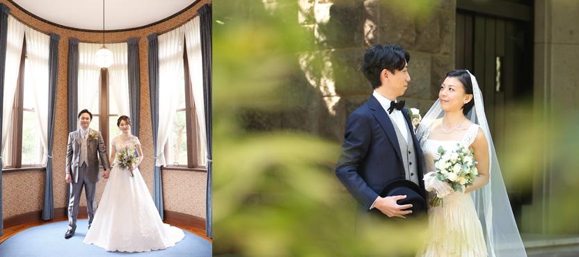 柔らかい光がふりそそぐ東京細川侯爵邸洋館でウェディングドレスを着てのフォトウェディング